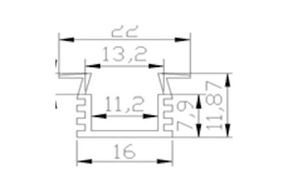 Ledlist i aluminium SMD5630 Infälld 1.0m