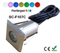 Inground Lampa 2W Kvadratisk RGB