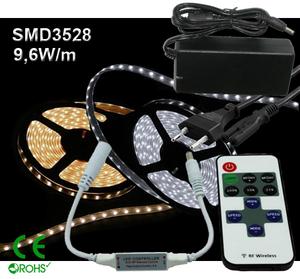 Ledtejp Dimbart Microkontroller Kit SMD3528 9,6W/m Varmvit, Vit el. Kallvit