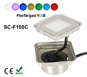 Inground Lampa 0,9W Kapslad  Kvadratisk RGB