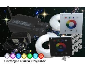Stjärnhimmelpaket 32W RGBW Dubbel Ledprojektor Väggkontroll 17kvm