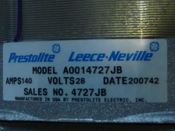 Nya generator 28v 140amp Prestolite Lecce Ny