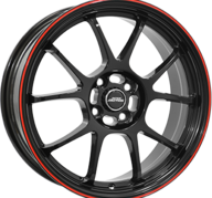 "16"" INTER ACTION PHOENIX - Gloss Black / Red 7x16 - ET25"