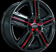 "17"" RONAL R57 - Gloss Black / Red 7x17 - ET45"