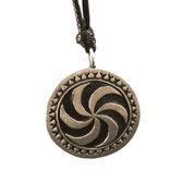 Tin pendant with picture stone design: sun wheel. Large