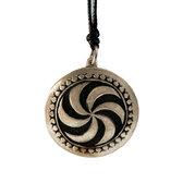 Tin pendant with picture stone design: sun wheel. Small
