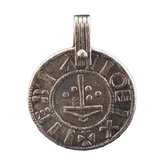 Pendant in silvered tin. Replica from York.