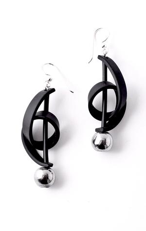 Michelle Earrings (Silver & Hematite)