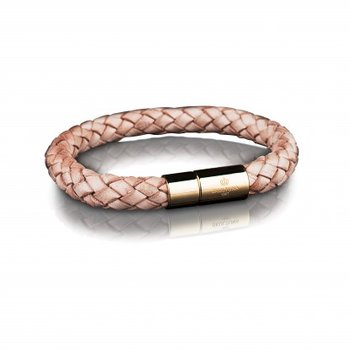 LEATHER BRACELET 8MM - GOLD