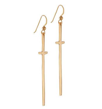 Gold & Bronze Cross Earrings