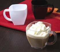 Square coffe/tea Clear  Mug. 8 pieces.