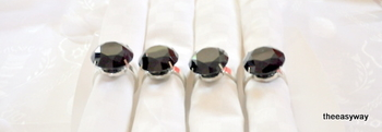 Napkin Rings. Black Shappire. 4 pieces