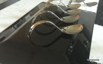 Smaksked. Förrätt på sked. Mini silver sked . 10 st.