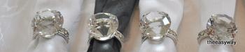 Servettringar klar kristall med Diamanter. 4 st.