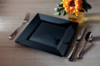 Square dinner plate. Black. 10 pieces.