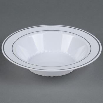 Engångs Djuptallrik vit med silverkant 10 st.