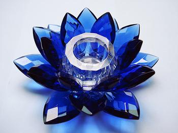 Lotus Candle Holder. Blue
