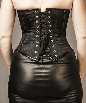 Overbust Black Brocade Satin (dragons) with PVC Details and Beautiful Hooks