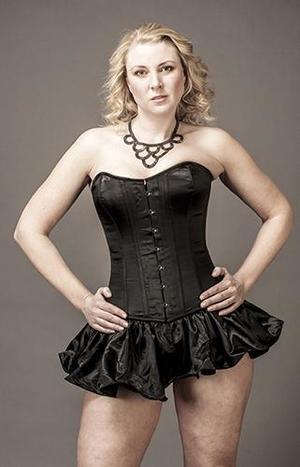 Overbust Black Satin with Skirt