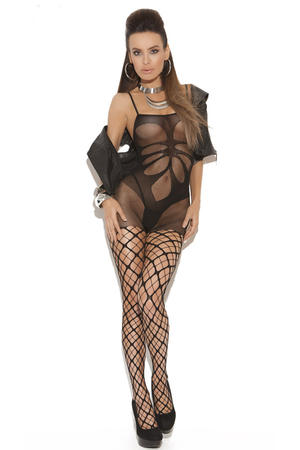 Floral Shade Mesh Body Stocking
