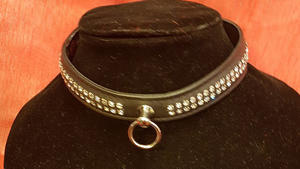 Leather collar with 2 Rows of Rhinestones (multiple colors)