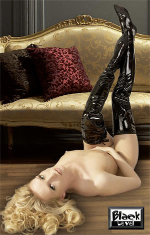 "Black Soft PVC Stayups / ""boots"""