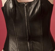 Leather corset with wide strips