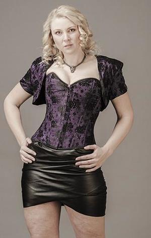 Overbust Purple Satin with Black Lace (+Bolero)