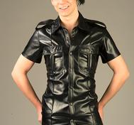 PU Pilotskjorta med axelklaff