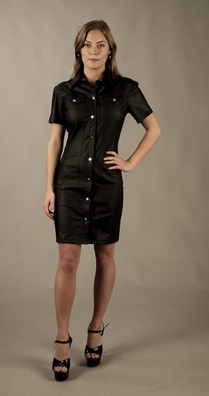 Button-up PU klänning