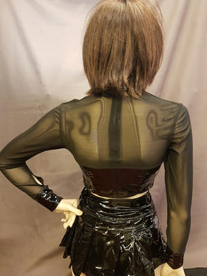 Long-sleeved PVC Top with Mesh