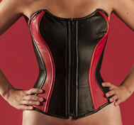 Overbust Sheep Leather, Black /Red