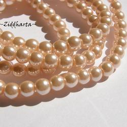 6mm Pearlecent Glaspärlor - 10st Peach / Aprikos