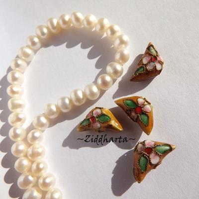 1 Cloisonné pärla: Sand Beige Fjäril Vinge / Butterfly Wings#46