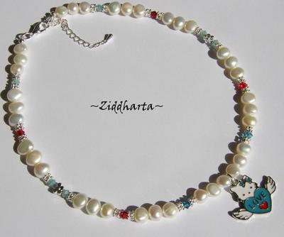 L1:13 Necklace Hello Kitty Angel LOVE Wings Enamel Pendant Freshwaterpearls & Swarovski Crystals Handmade Jewelry and Beadings by Ziddharta
