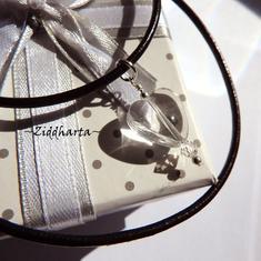 Crystal Heart Necklace Swarovski Necklace Halskette Heart Kragen Hjärta Clear Halsband Necklace - Handmade Jewelry Necklaces by Ziddharta