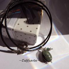 Dark Green Gem Stone Necklace Green Kambama Jasper Necklace Halskette Kragen Halsband Gem Stone Necklace - Jewelry Handmade by Ziddharta