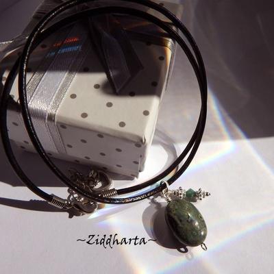Dark Green Gem Stone Necklace Green Kambama Jasper Necklace Halskette Kragen Halsband Gem Stone Necklace - Jewelry Handmade by Ziddharta
