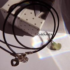 Green Gem Stone Necklace Handmade Prenite Pendant Necklace Swarovski Crystal Peridot Halskette Gem Stone Necklace - Jewelry by Ziddharta