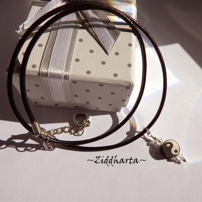 Yin Yang Black White Pendant Necklace on Cord YOGA Necklace Clay Swarovski Crystal YinYang Buddha Pendant - Jewelry by Ziddharta of Sweden