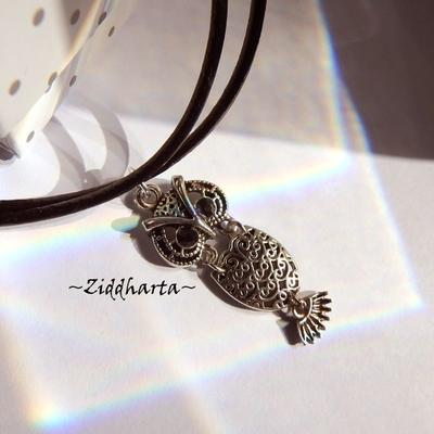 AS OWL Necklace Antique Silver Finish handmade Pendant Eule Halskette Kragen Halsband Uggla Necklace - Jewelry Handmade by Ziddharta