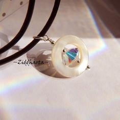 UFO Mother of Pearl Necklace BIG Swarovski Crystal AB Necklace handmade Pearl Mop Necklace - Handmade Jewelry Necklaces by Ziddharta Sweden