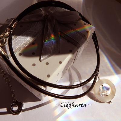 UFO Mother of Pearl Necklace BIG Swarovski Crystal AB Necklace handmade Pearl Mop Necklace - Handmade Jewelry Necklaces by Ziddharta Sweden