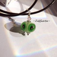FROG Green Lampwork Necklace Handmade Black Dots Necklace Swarovski Crystals Cantaloupe Necklace - Cord Jewelry Necklaces by Ziddharta