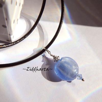 Blue Light Sapphire Lampwork Necklace Handmade Sapphire Blue Necklace Swarovski Crystals Necklace - Cord Jewelry Necklaces by Ziddharta