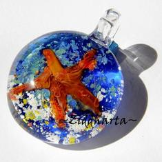 LampWork-hänge: 3D Hänge StarFish - 36x29mm