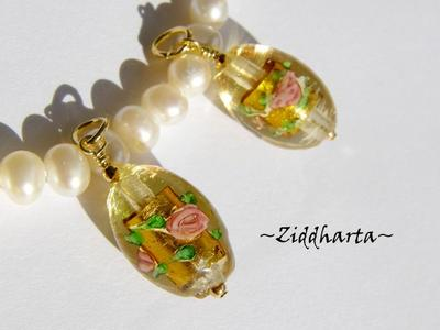 1st Hänge: GoldFoil Dk Gold /Amber1st Charms / Färdigt smycke / Hänge: GoldenStripes - Nätt, Ovalt Hänge - ca 28x11mm