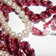 SÅLD! L3:108 Pink Beaded Rope Swarovski Crystals: Hearts