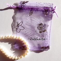 Smyckepåse: Organza Lavendel Violett 9x7cm