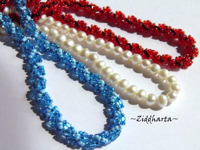 L1:19 Sewn Spiral Rope Necklace AB Love Red Necklace Sewn Seed Bead Necklace Love Red DNA-spiral Necklace - Handmade Jewelry by Ziddharta